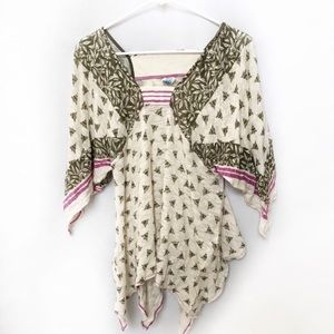 Free People V-Neckline Printed Blouse size XSmall